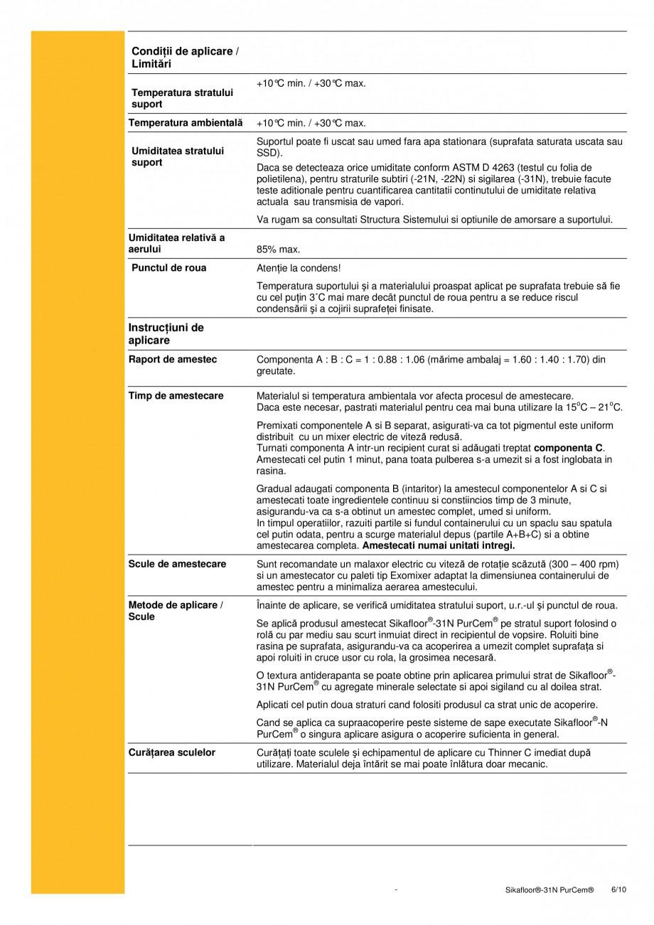 Pagina 6 - Strat de sigilare poliuretanic fara solventi SIKA Sikafloor®-31 N PurCem® Fisa...