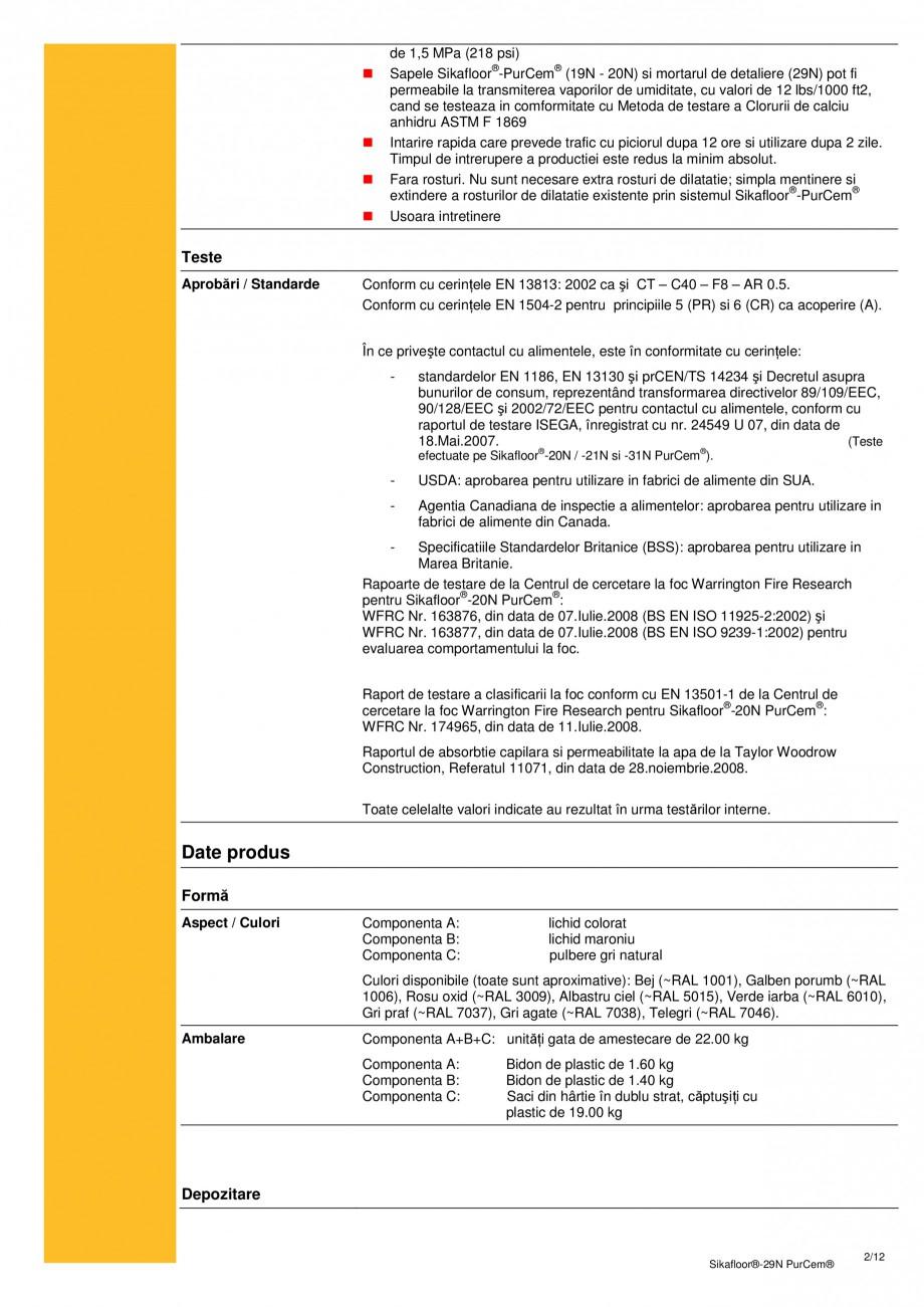 Pagina 1 - Mortar poliuretanic cu rezistenta mare pentru tencuieli si detalii SIKA Sikafloor®-29...