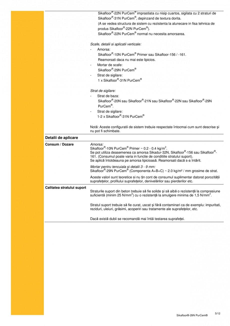 Pagina 4 - Mortar poliuretanic cu rezistenta mare pentru tencuieli si detalii SIKA Sikafloor®-29...