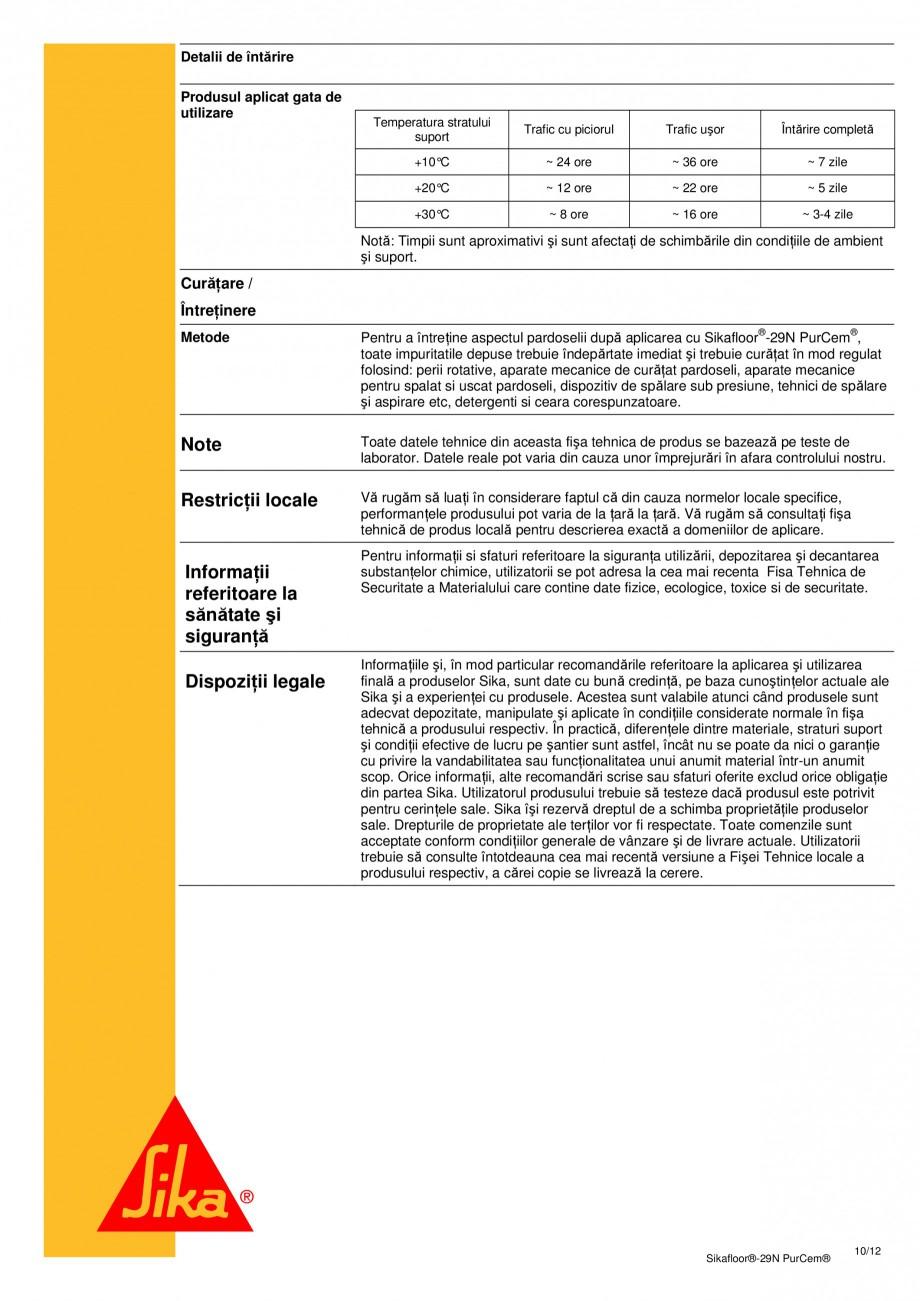 Pagina 9 - Mortar poliuretanic cu rezistenta mare pentru tencuieli si detalii SIKA Sikafloor®-29...