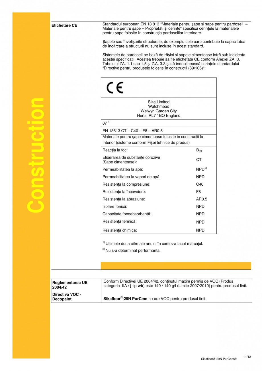 Pagina 11 - Mortar poliuretanic cu rezistenta mare pentru tencuieli si detalii SIKA Sikafloor®...