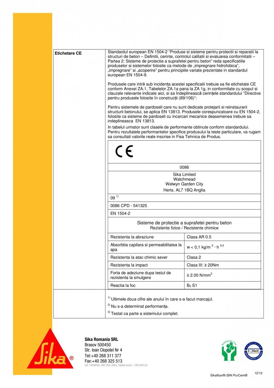 Pagina 12 - Mortar poliuretanic cu rezistenta mare pentru tencuieli si detalii SIKA Sikafloor®...