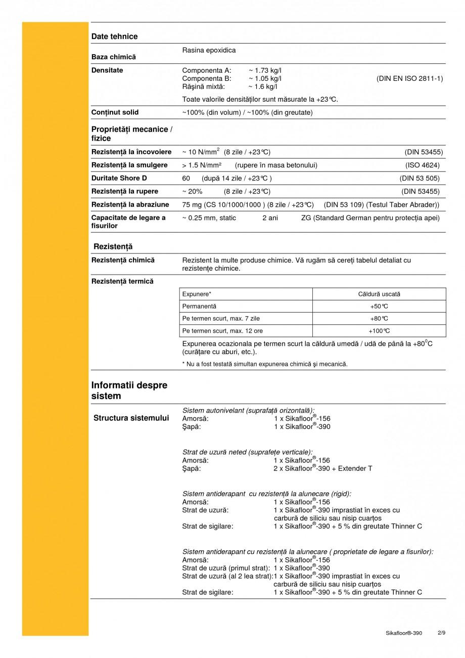 Pagina 2 - Acoperire epoxidica bicomponenta flexibila si rezistenta chimic SIKA Sikafloor®-390...