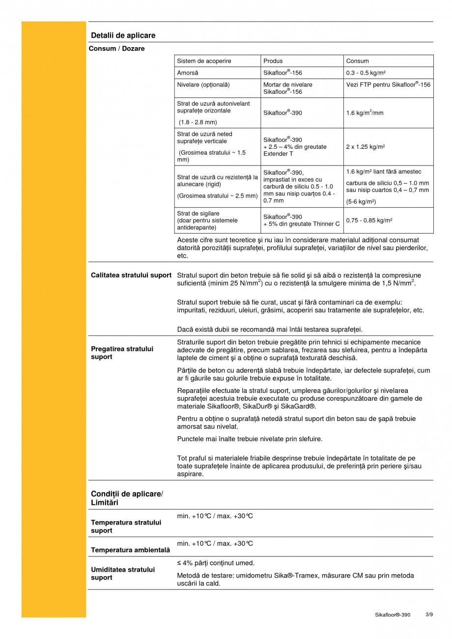 Pagina 3 - Acoperire epoxidica bicomponenta flexibila si rezistenta chimic SIKA Sikafloor®-390...