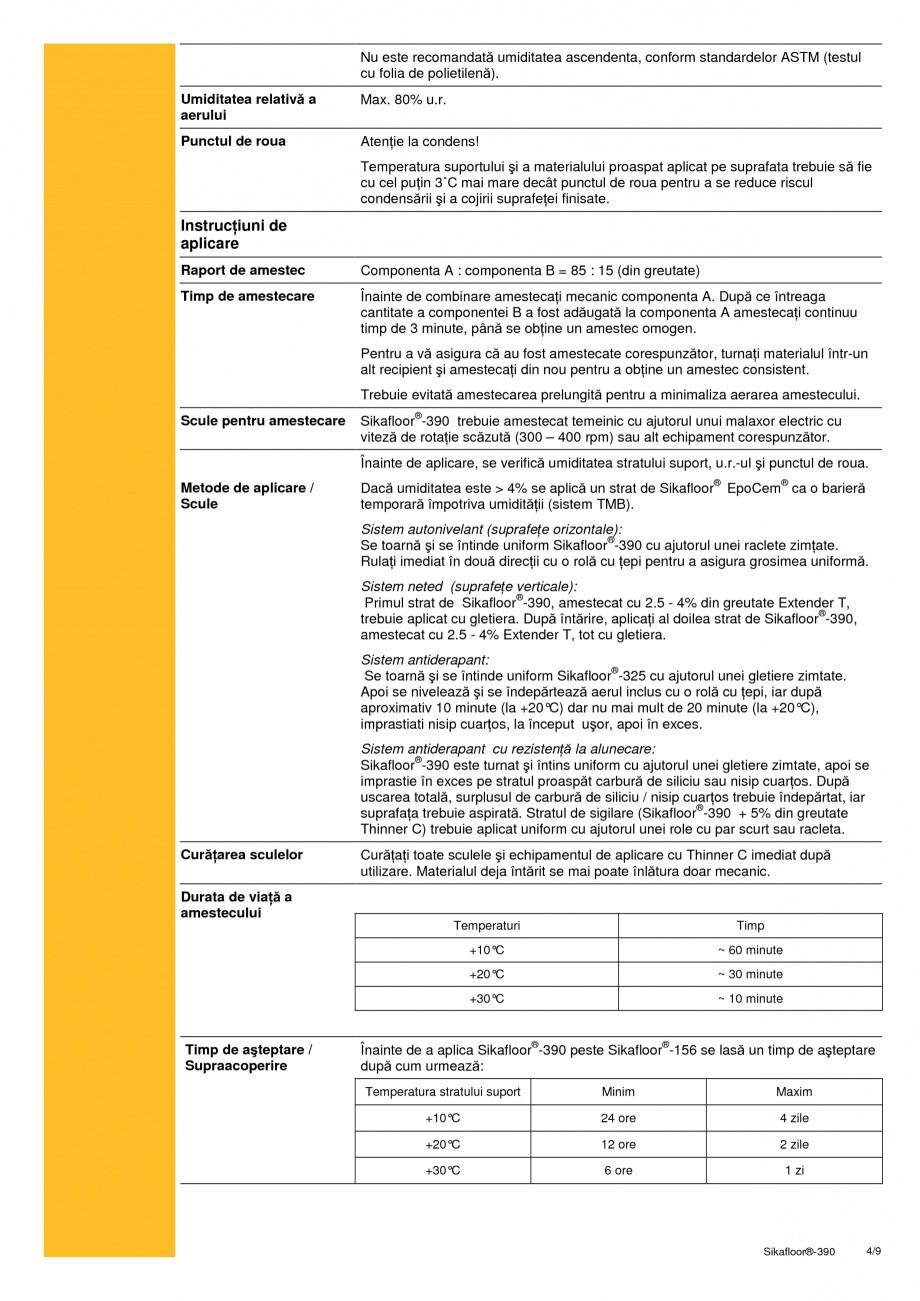 Pagina 4 - Acoperire epoxidica bicomponenta flexibila si rezistenta chimic SIKA Sikafloor®-390...
