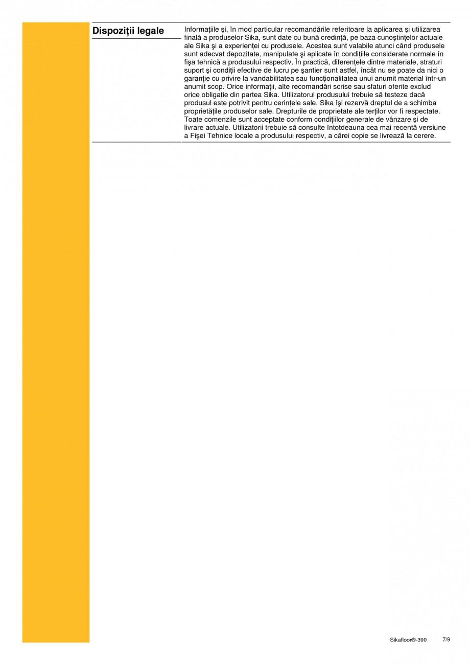 Pagina 7 - Acoperire epoxidica bicomponenta flexibila si rezistenta chimic SIKA Sikafloor®-390...