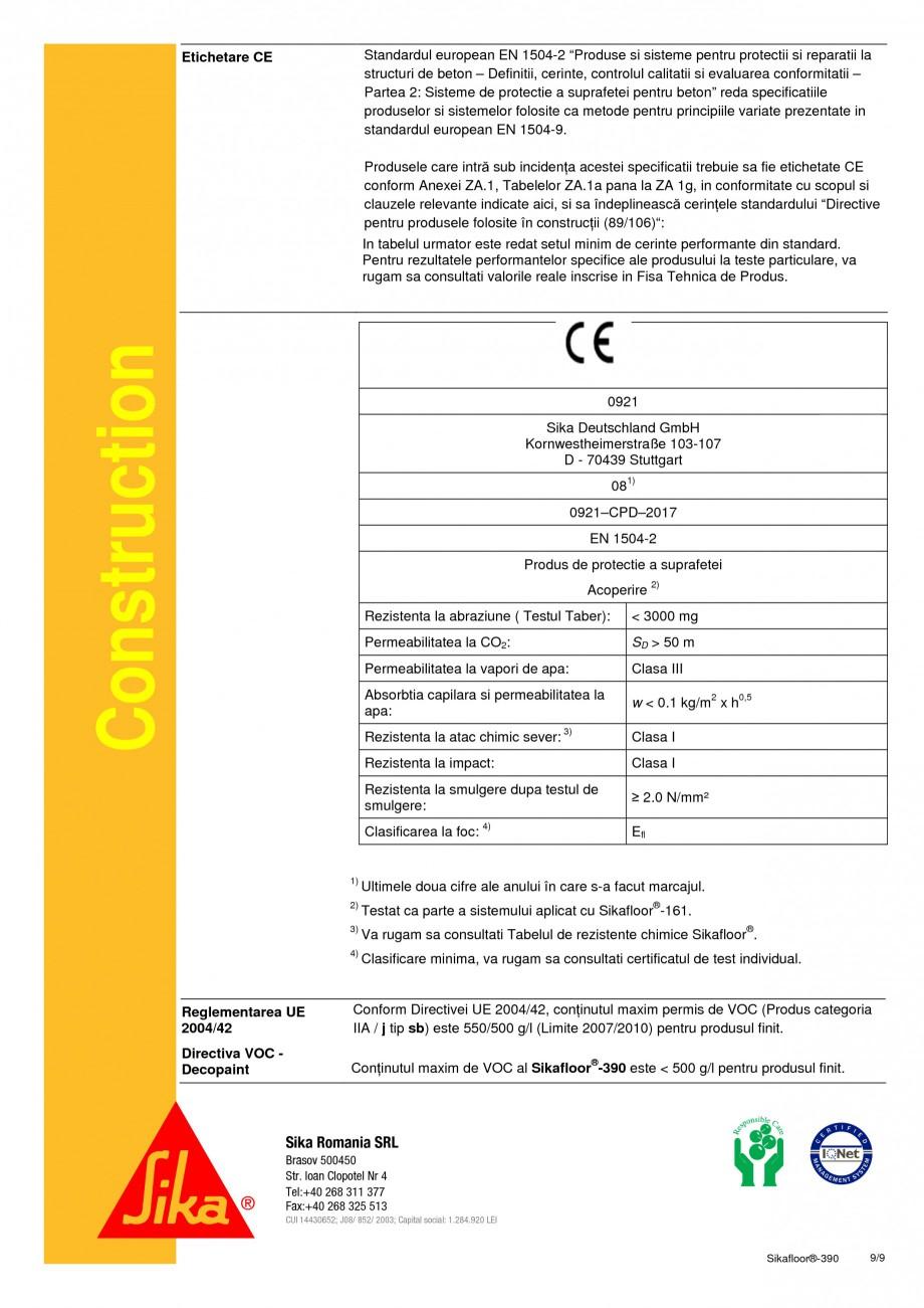 Pagina 9 - Acoperire epoxidica bicomponenta flexibila si rezistenta chimic SIKA Sikafloor®-390...