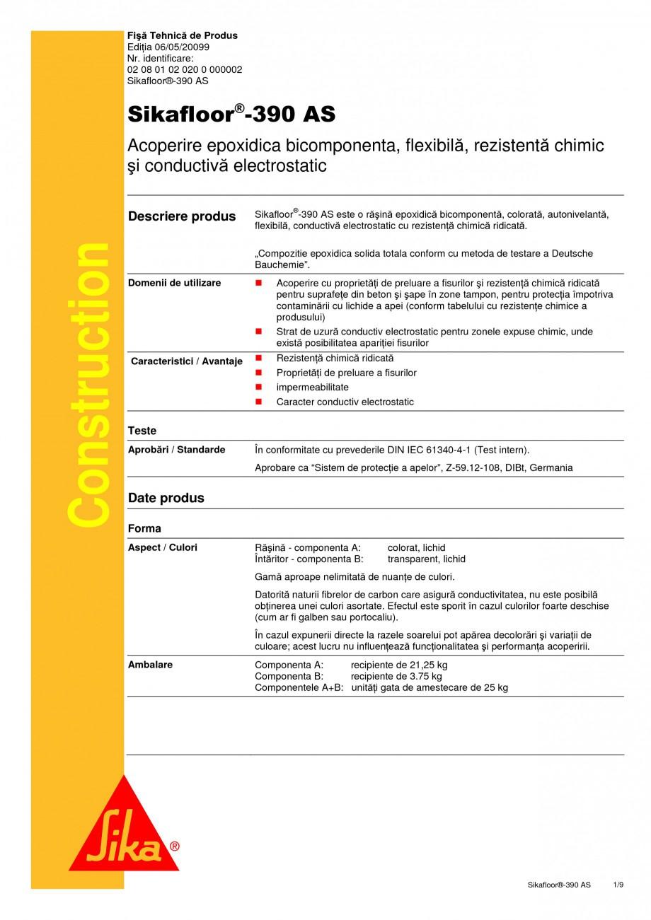 Pagina 1 - Acoperire epoxidica bicomponenta, flexibila, rezistenta chimic si conductiva...