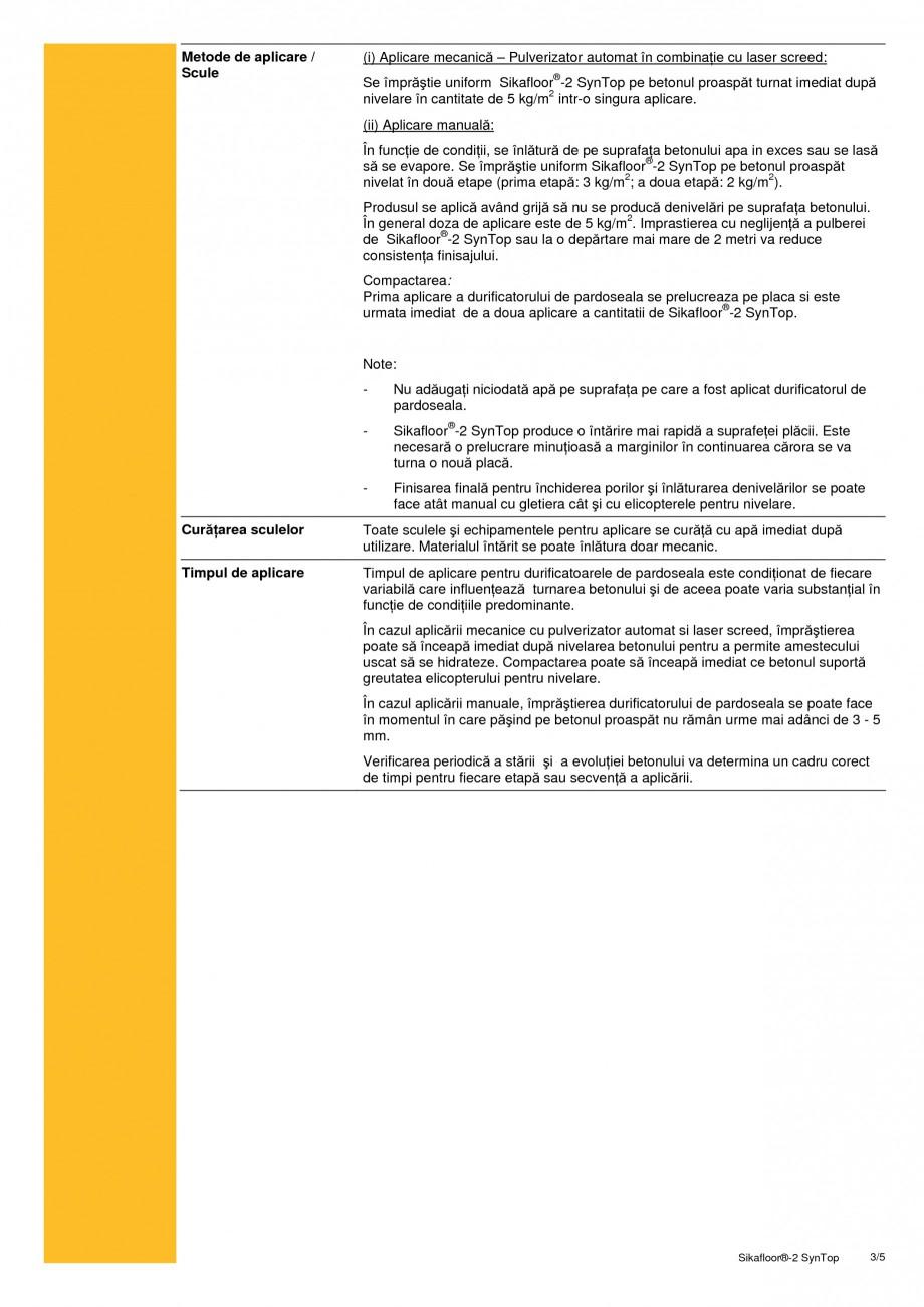 Pagina 3 - Durificator de pardoseala nemetalic, sintetic SIKA Sikafloor®-2 SynTop Fisa tehnica...