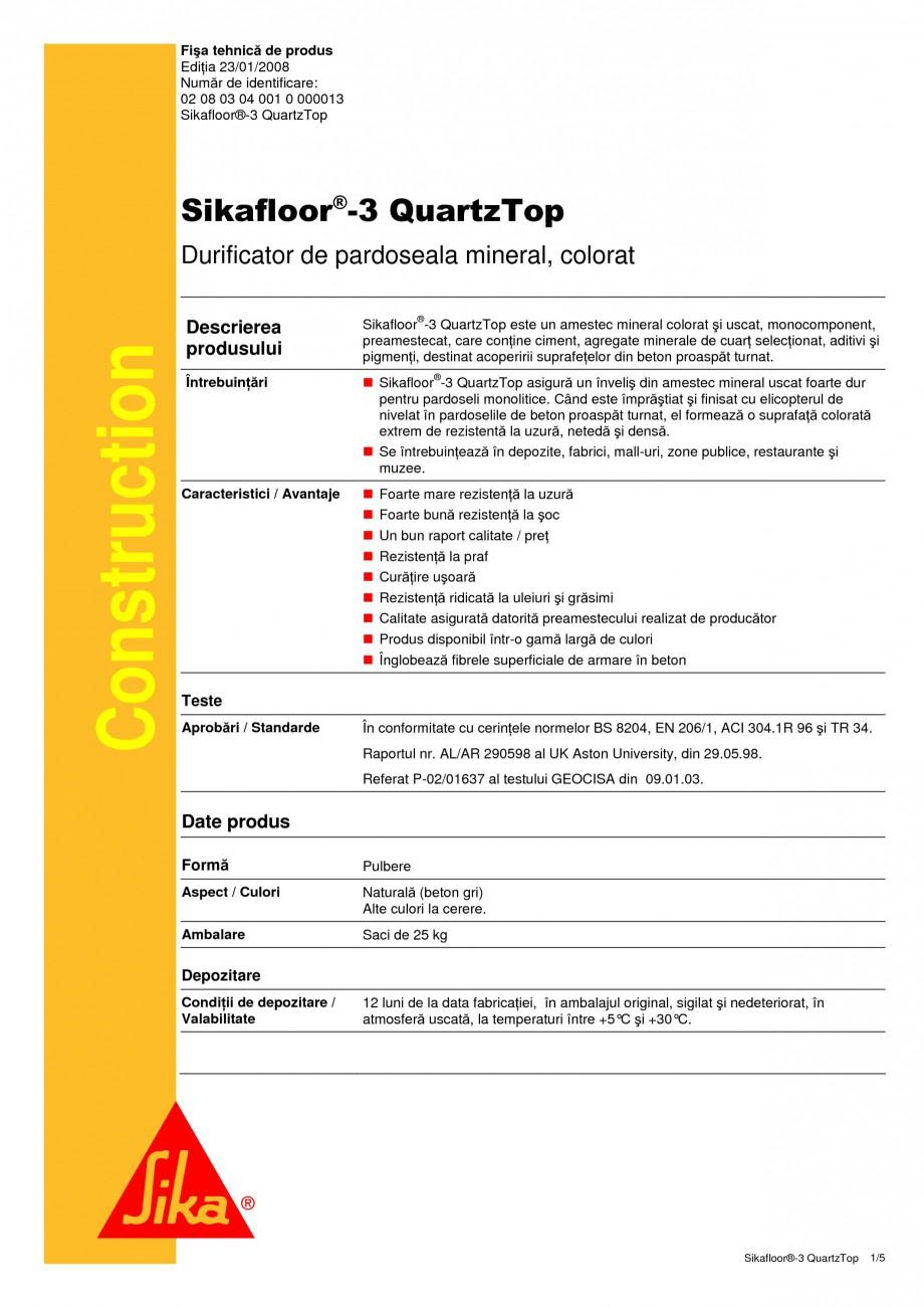 Pagina 1 - Durificator de pardoseala, mineral, colorat SIKA Sikafloor®-3 QuartzTop Fisa tehnica ...