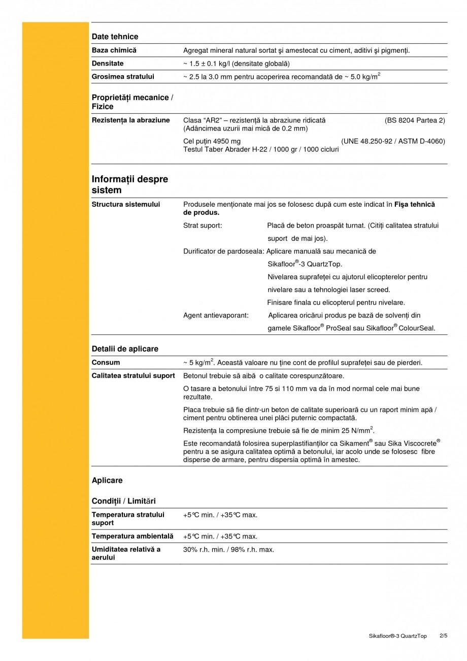Pagina 2 - Durificator de pardoseala, mineral, colorat SIKA Sikafloor®-3 QuartzTop Fisa tehnica ...