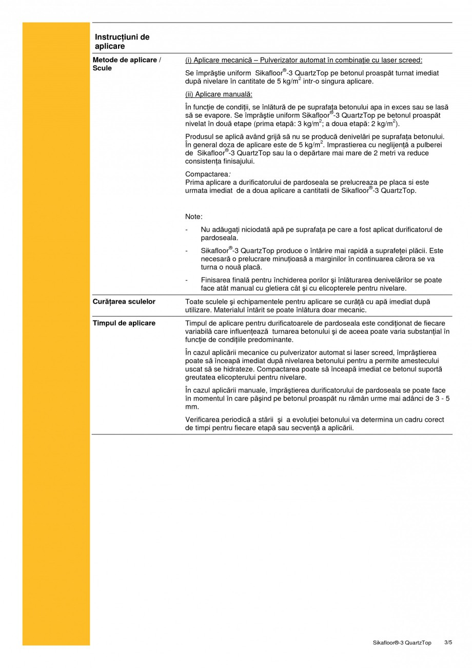 Pagina 3 - Durificator de pardoseala, mineral, colorat SIKA Sikafloor®-3 QuartzTop Fisa tehnica ...