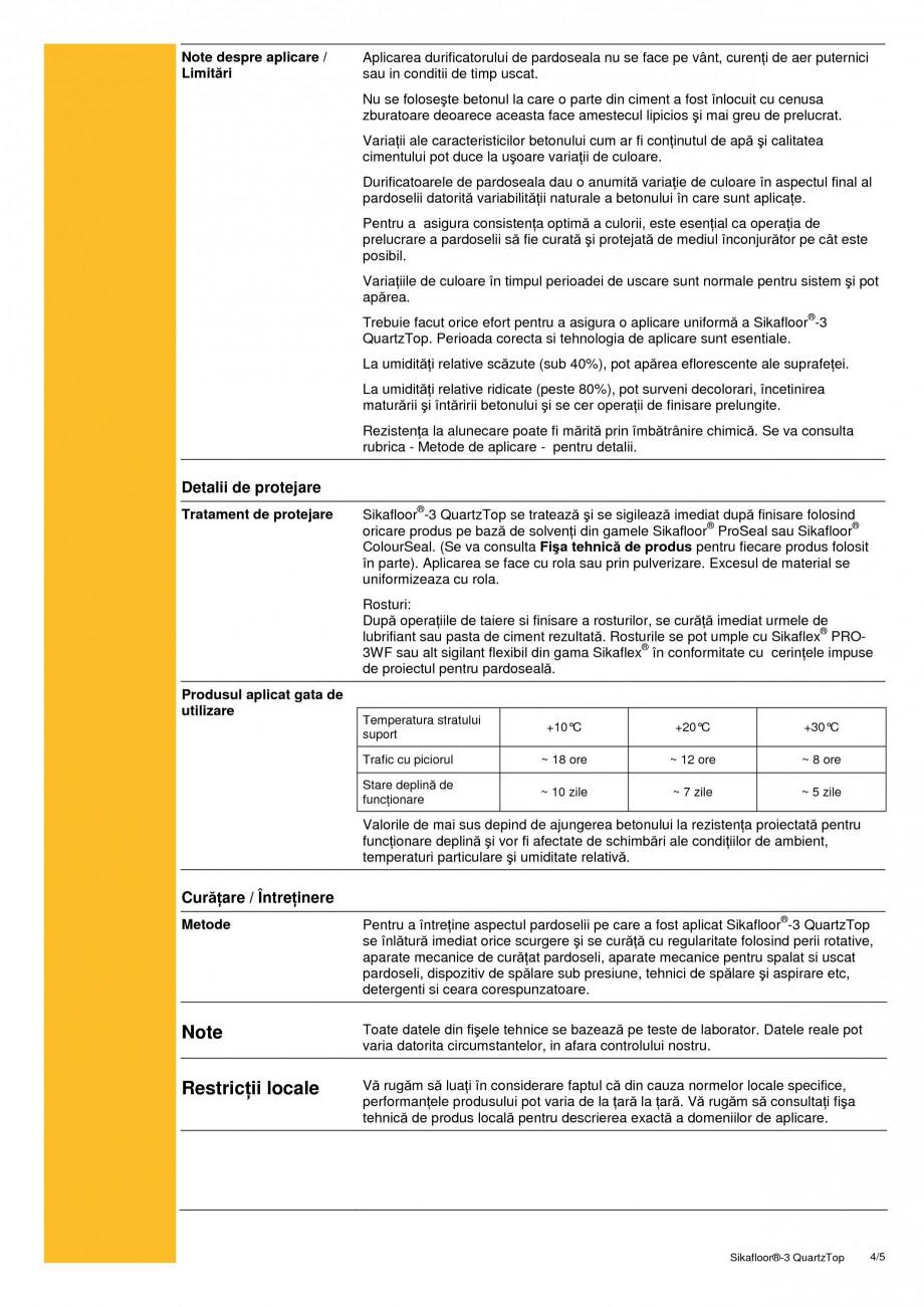 Pagina 4 - Durificator de pardoseala, mineral, colorat SIKA Sikafloor®-3 QuartzTop Fisa tehnica ...