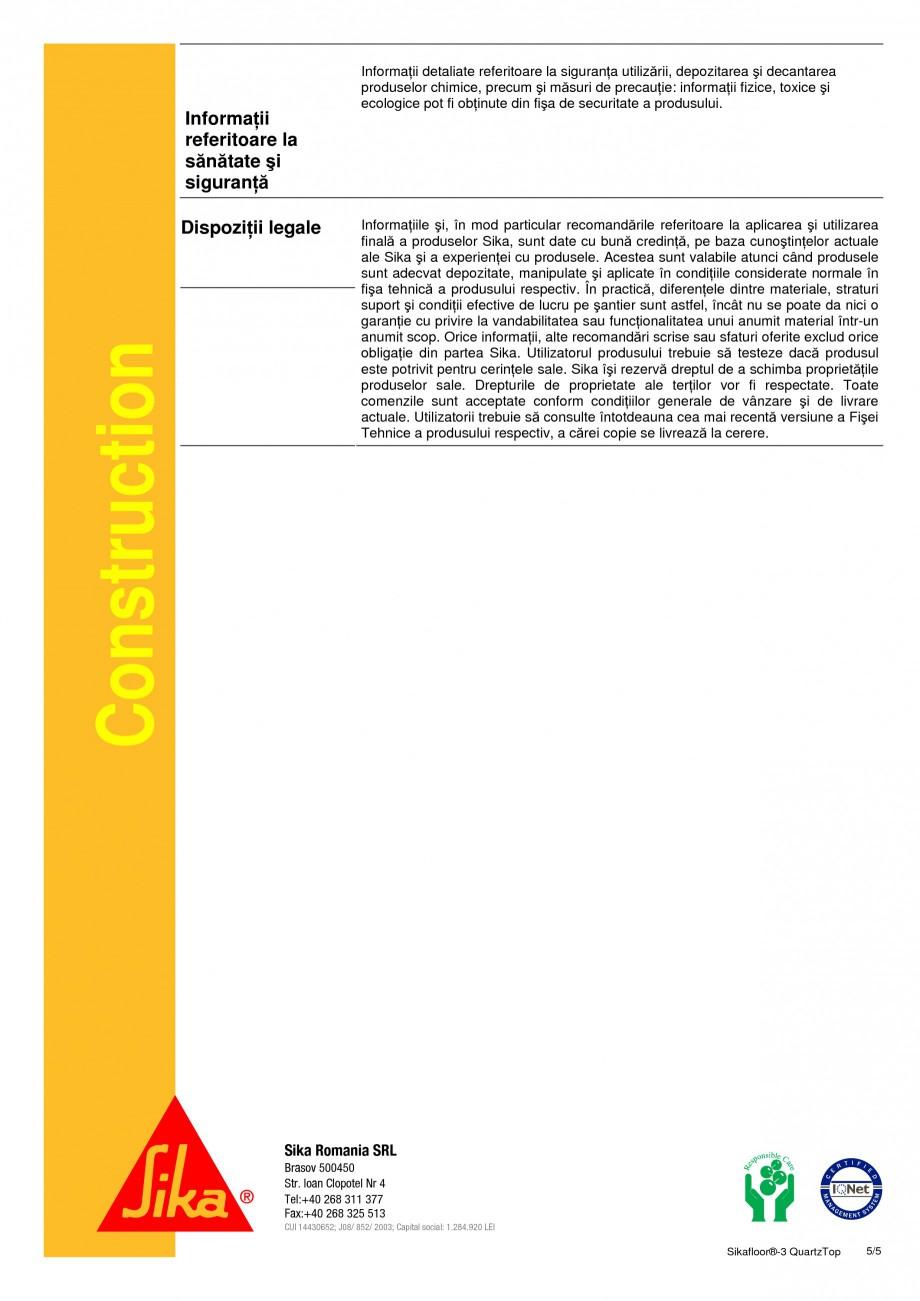 Pagina 5 - Durificator de pardoseala, mineral, colorat SIKA Sikafloor®-3 QuartzTop Fisa tehnica ...