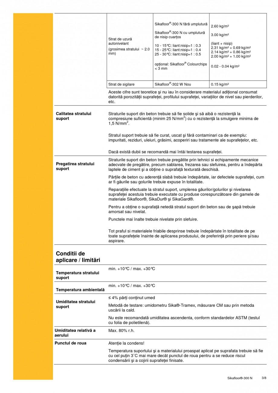 Pagina 3 - Rasina poliuretanica bicomponenta, elastica SIKA Sikafloor®-300 N Fisa tehnica Romana...
