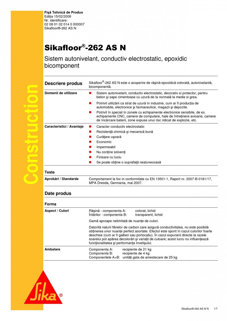 Pagina 1 - Sistem autonivelant, conductiv electrostatic, epoxidic bicomponent SIKA Sikafloor®...