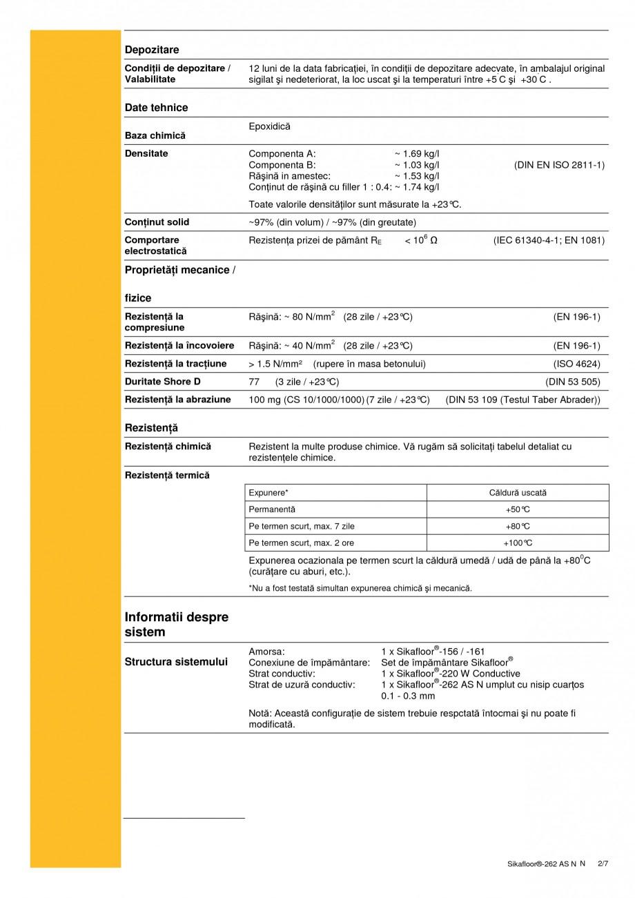 Pagina 2 - Sistem autonivelant, conductiv electrostatic, epoxidic bicomponent SIKA Sikafloor®...