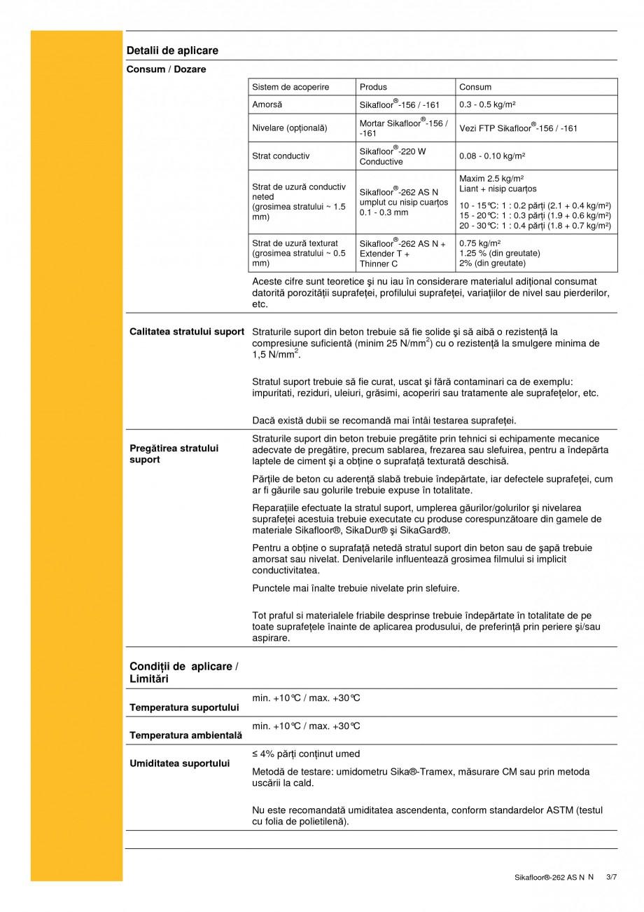 Pagina 3 - Sistem autonivelant, conductiv electrostatic, epoxidic bicomponent SIKA Sikafloor®...