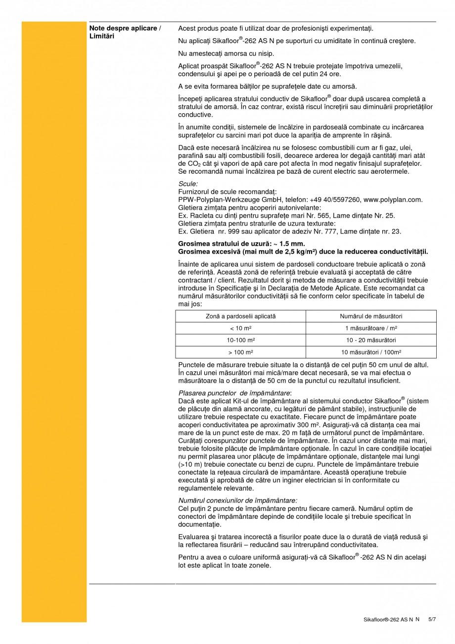Pagina 5 - Sistem autonivelant, conductiv electrostatic, epoxidic bicomponent SIKA Sikafloor®...