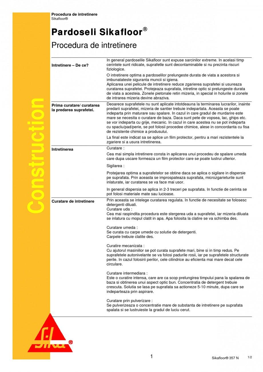 Pagina 1 - Procedura de intretinere pentru pardoseli SIKA Sikafloor®-161, Sikafloor®-2...