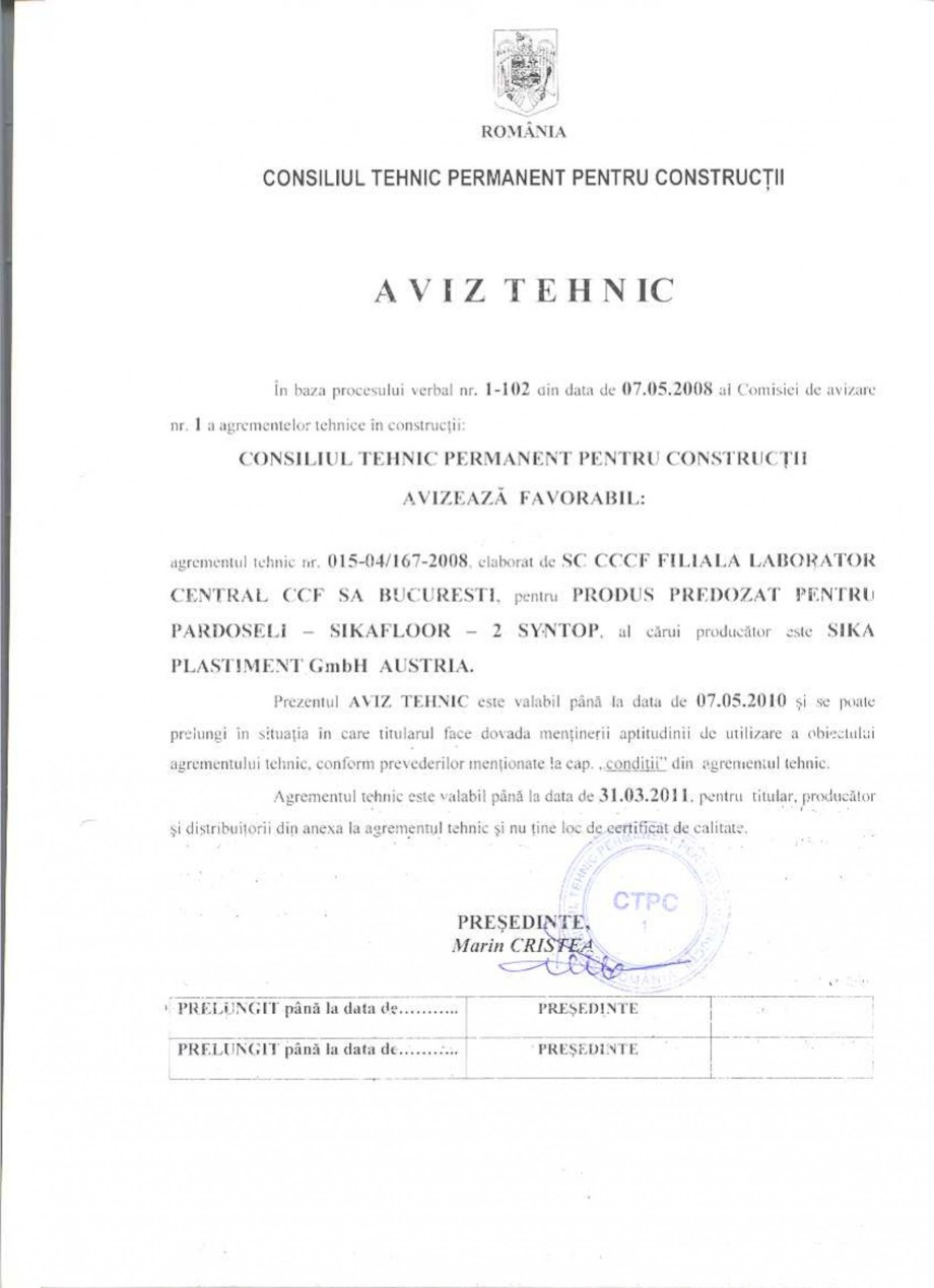 Pagina 1 - Agrement tehnic SIKA Sikafloor®-2 SynTop Certificare produs Romana