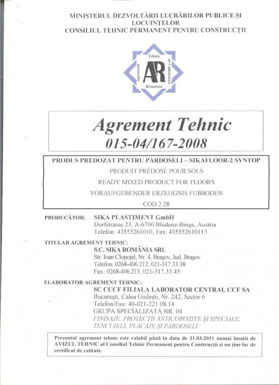 Pagina 3 - Agrement tehnic SIKA Sikafloor®-2 SynTop Certificare produs Romana