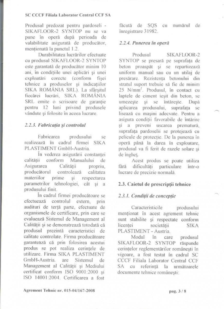 Pagina 6 - Agrement tehnic SIKA Sikafloor®-2 SynTop Certificare produs Romana