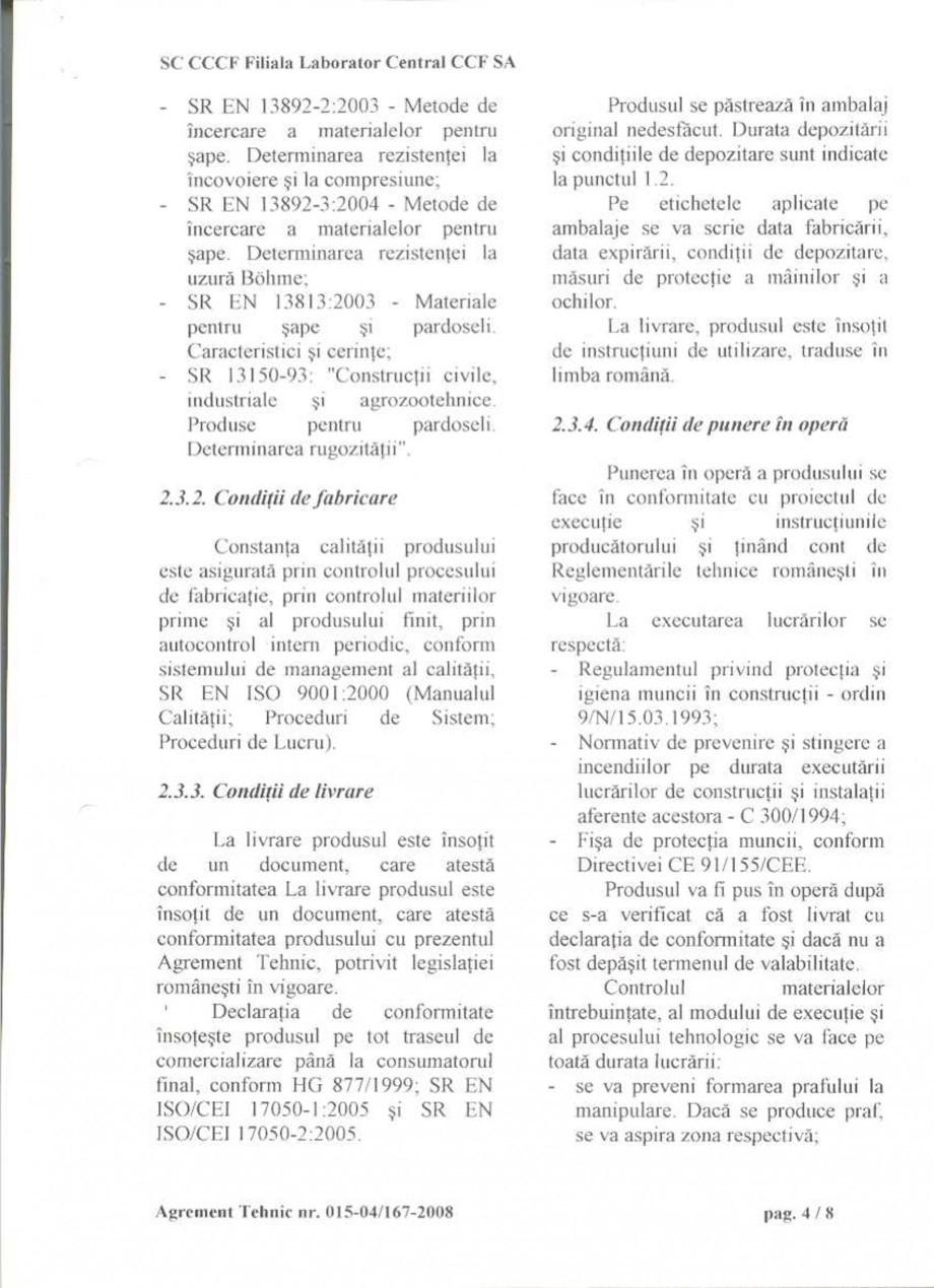 Pagina 7 - Agrement tehnic SIKA Sikafloor®-2 SynTop Certificare produs Romana