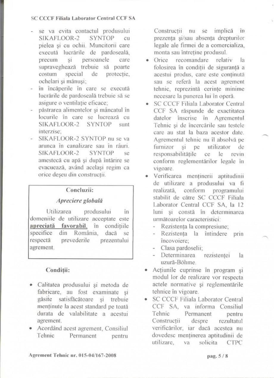Pagina 8 - Agrement tehnic SIKA Sikafloor®-2 SynTop Certificare produs Romana