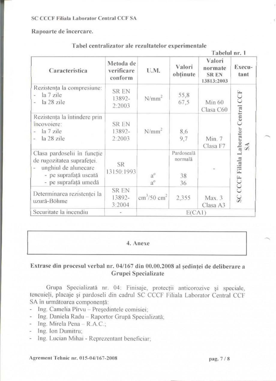 Pagina 10 - Agrement tehnic SIKA Sikafloor®-2 SynTop Certificare produs Romana