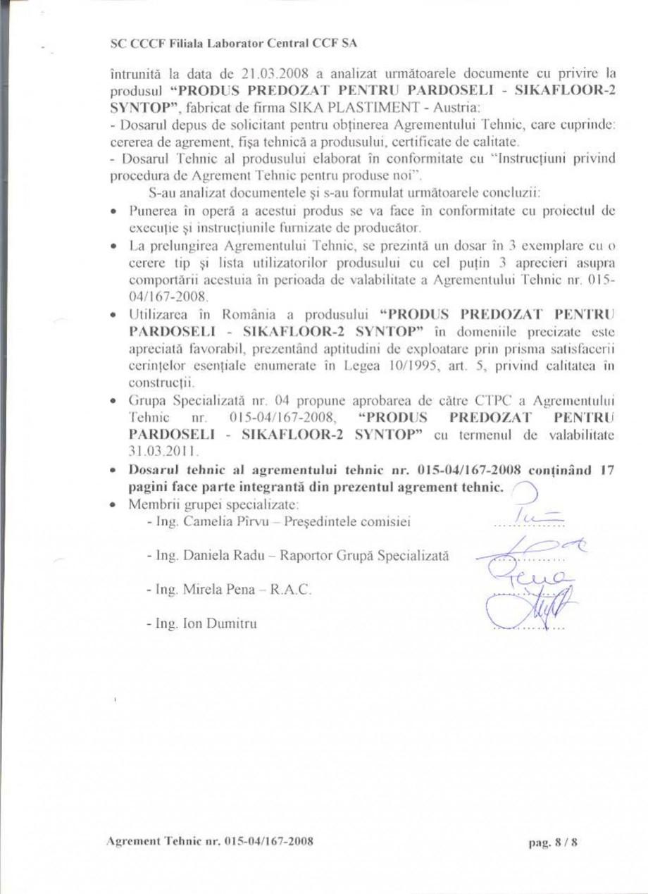 Pagina 11 - Agrement tehnic SIKA Sikafloor®-2 SynTop Certificare produs Romana