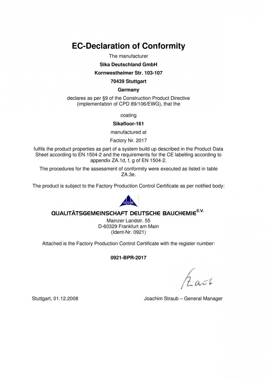 Certificare Produs Declaratie De Conformitate Sikafloor