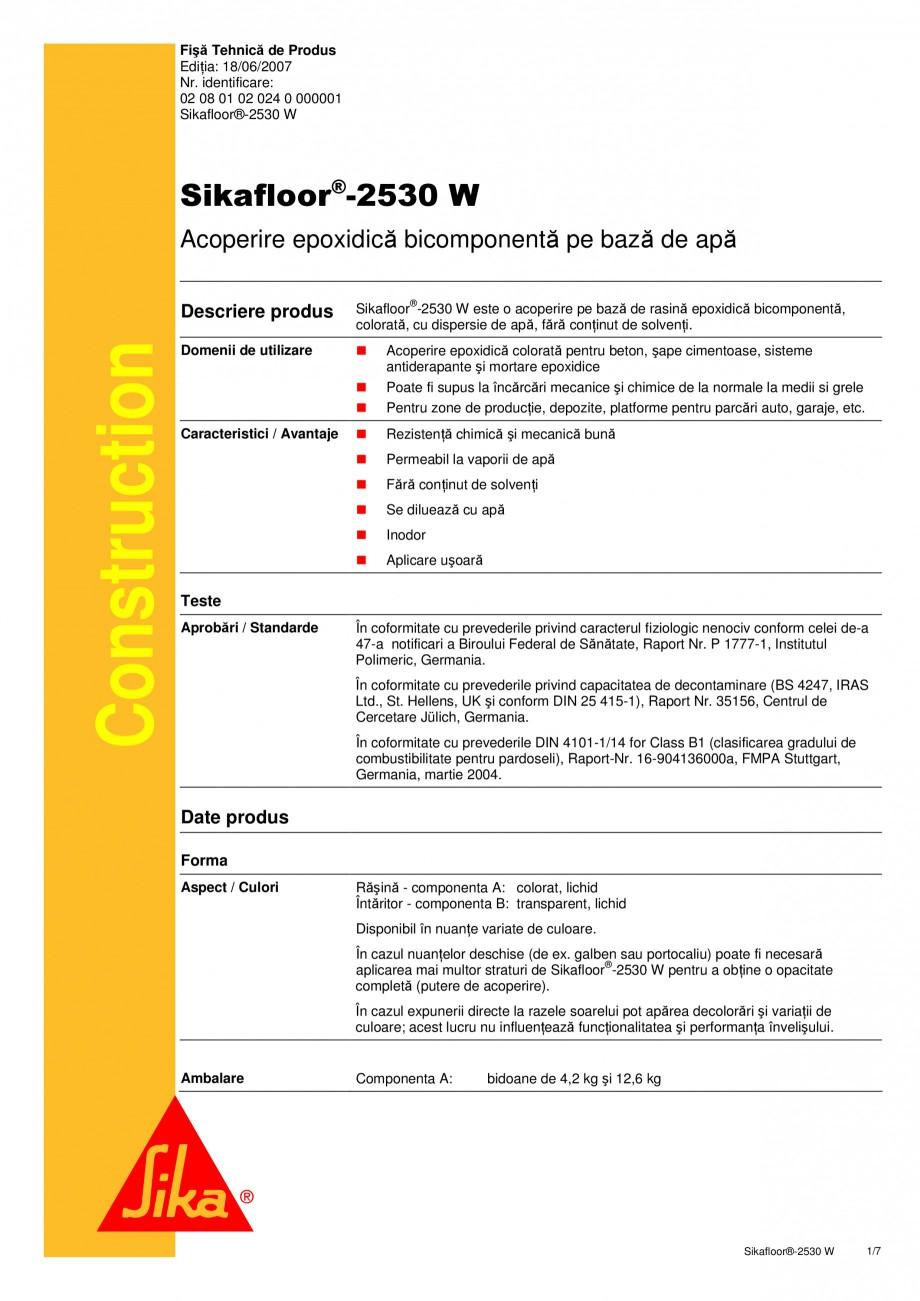 Pagina 1 - Acoperire epoxidica bicomponenta pe baza de apa SIKA Sikafloor®-2530 W Fisa tehnica...
