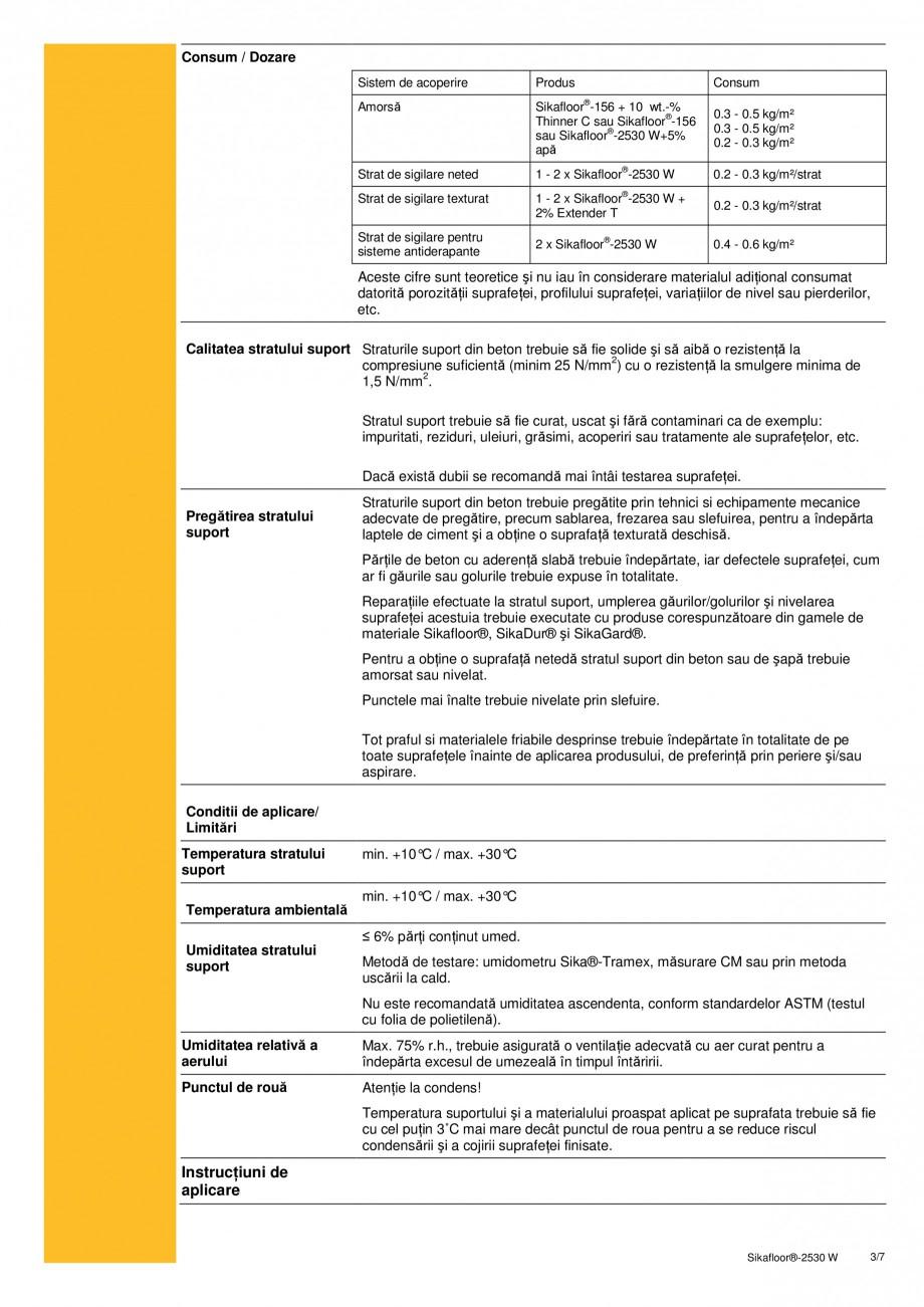 Pagina 3 - Acoperire epoxidica bicomponenta pe baza de apa SIKA Sikafloor®-2530 W Fisa tehnica...