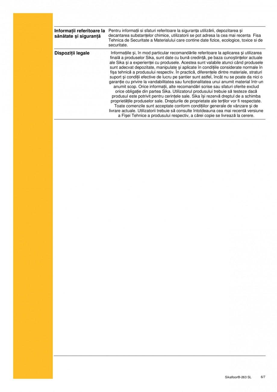 Pagina 6 - Sistem bicomponent epoxidic autonivelant SIKA Sikafloor®-263 SL Fisa tehnica Romana  ...