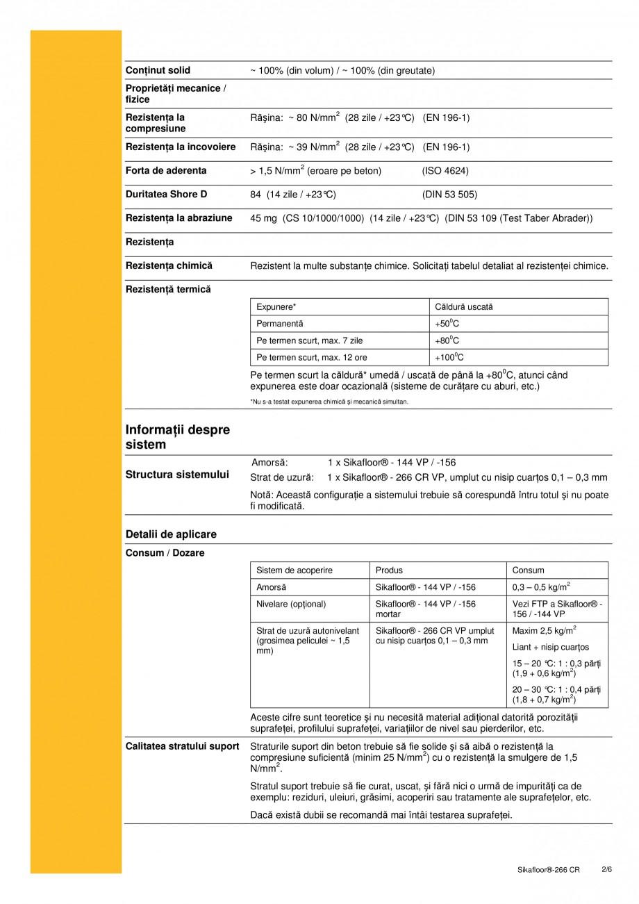 Pagina 2 - Sistem bicomponent de tip epoxidic autonivelant SIKA Sikafloor®-266 CR Fisa tehnica...