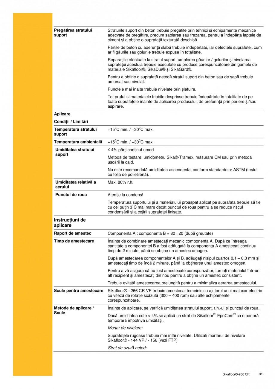 Pagina 3 - Sistem bicomponent de tip epoxidic autonivelant SIKA Sikafloor®-266 CR Fisa tehnica...