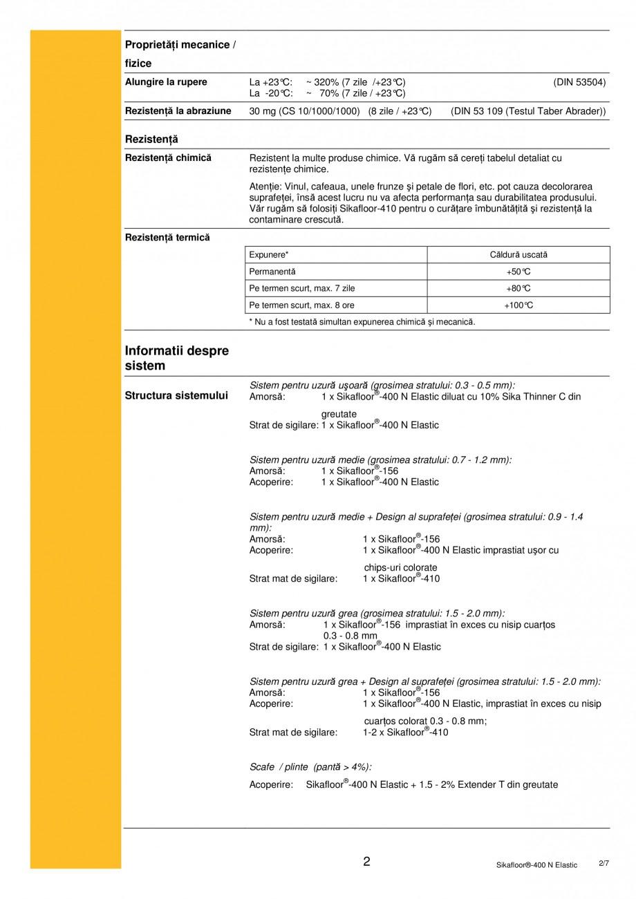Pagina 2 - Acoperire poliuretanica monocomponenta foarte elastica SIKA Sikafloor®-400 N Elastic ...