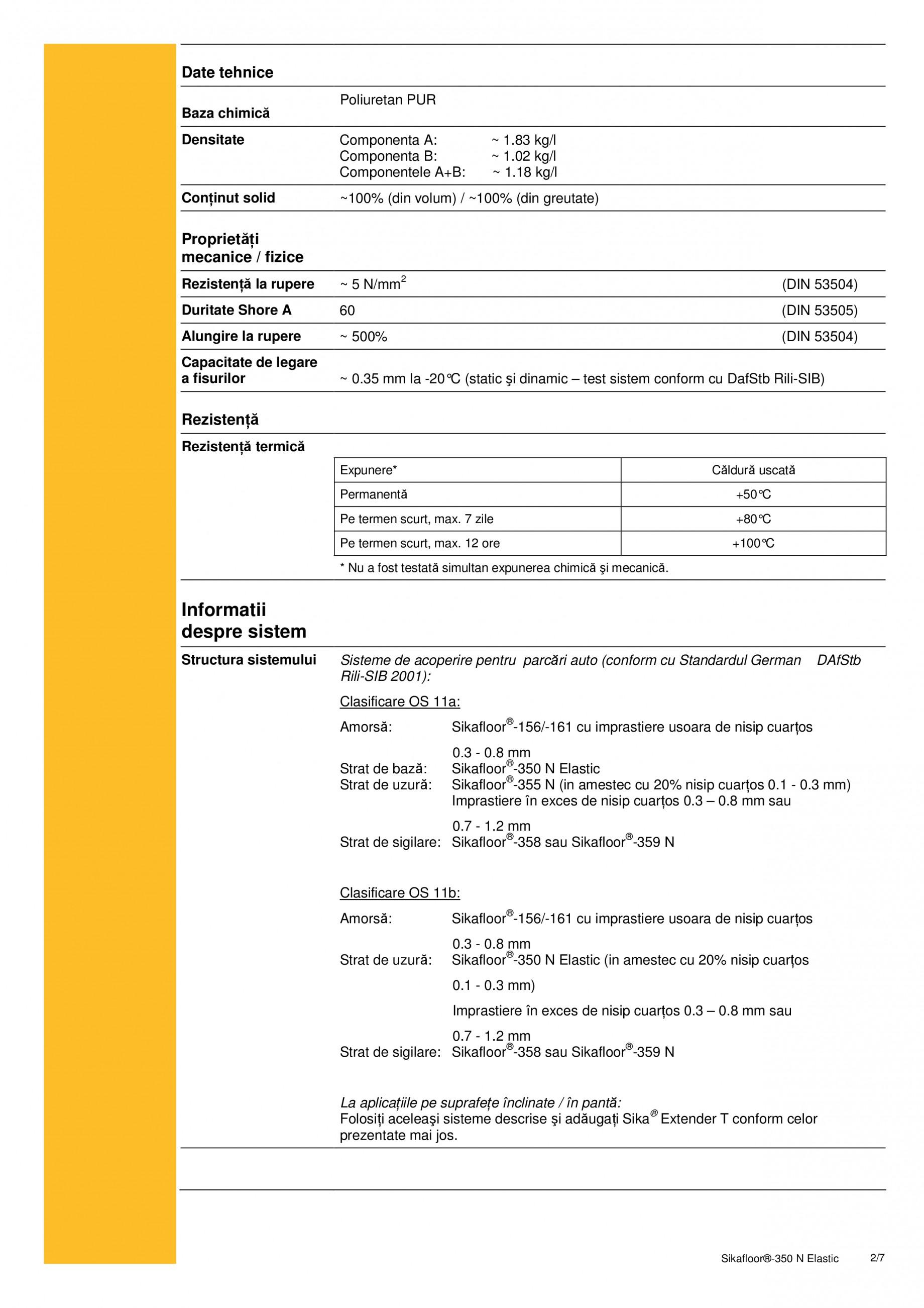 Fisa tehnica Rasina poliuretanica cu grad ridicat de elasticitate Sikafloor®-350 N Elastic SIKA Pardoseli turnate, vopsite SIKA Romania  - Pagina 2