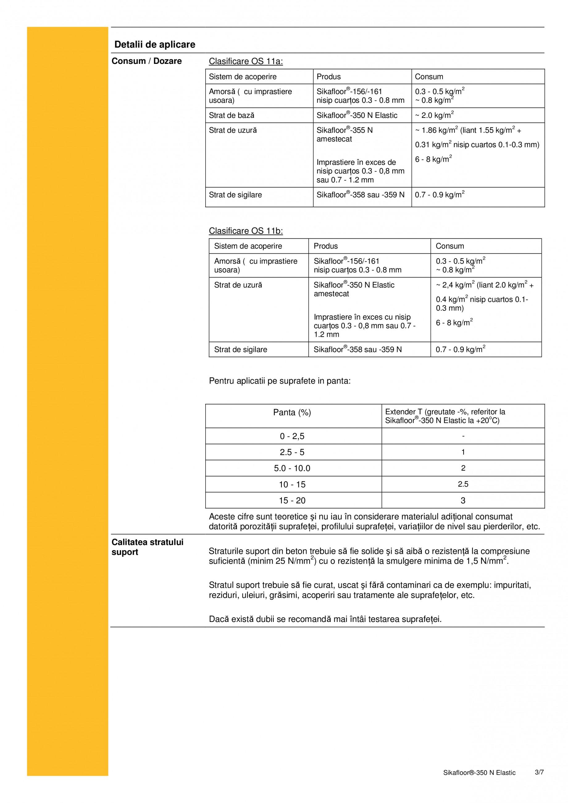 Fisa tehnica Rasina poliuretanica cu grad ridicat de elasticitate Sikafloor®-350 N Elastic SIKA Pardoseli turnate, vopsite SIKA Romania  - Pagina 3
