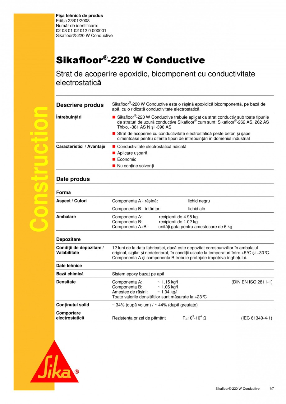 Pagina 1 - Strat de acoperire epoxidic, bicomponent cu conductivitate electrostatica SIKA...