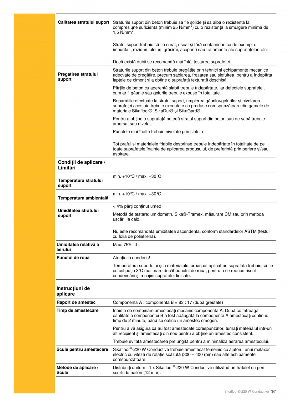 Pagina 3 - Strat de acoperire epoxidic, bicomponent cu conductivitate electrostatica SIKA...