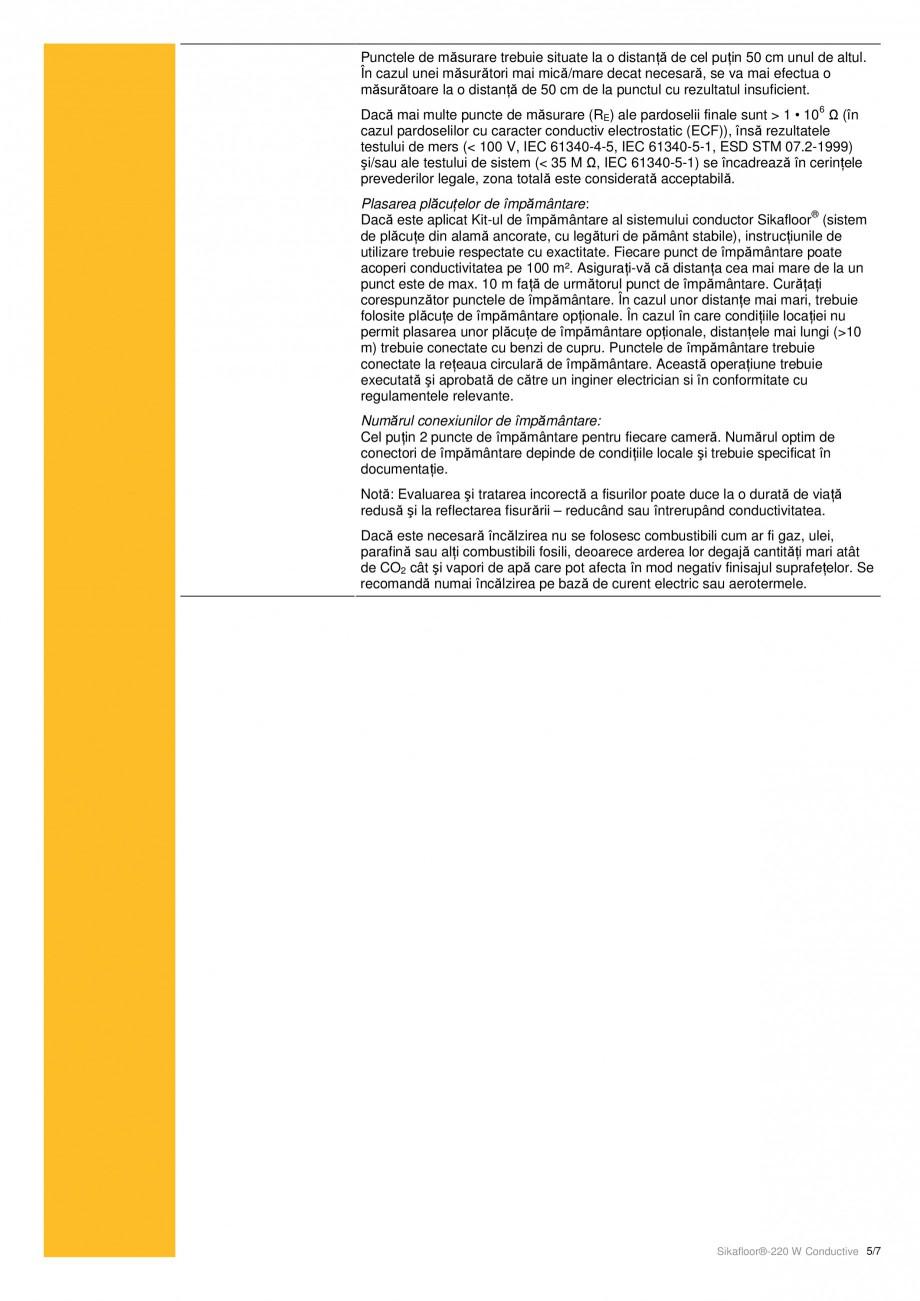 Pagina 5 - Strat de acoperire epoxidic, bicomponent cu conductivitate electrostatica SIKA...