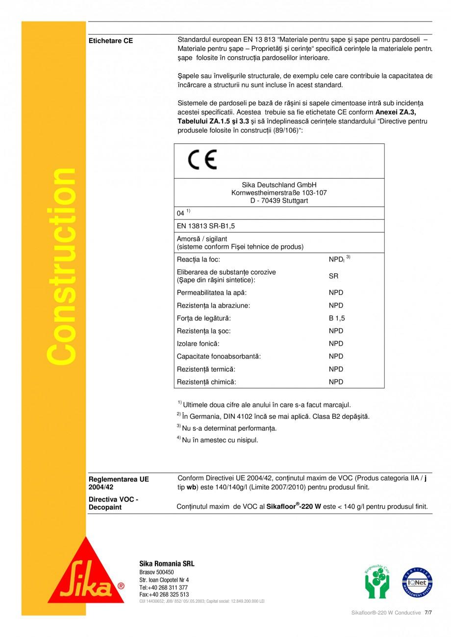 Pagina 7 - Strat de acoperire epoxidic, bicomponent cu conductivitate electrostatica SIKA...
