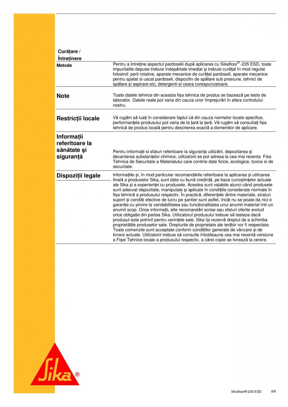 Pagina 8 - Sistem epoxidic bicomponent, autonivelant, disipativ electrostatic SIKA Sikafloor®...