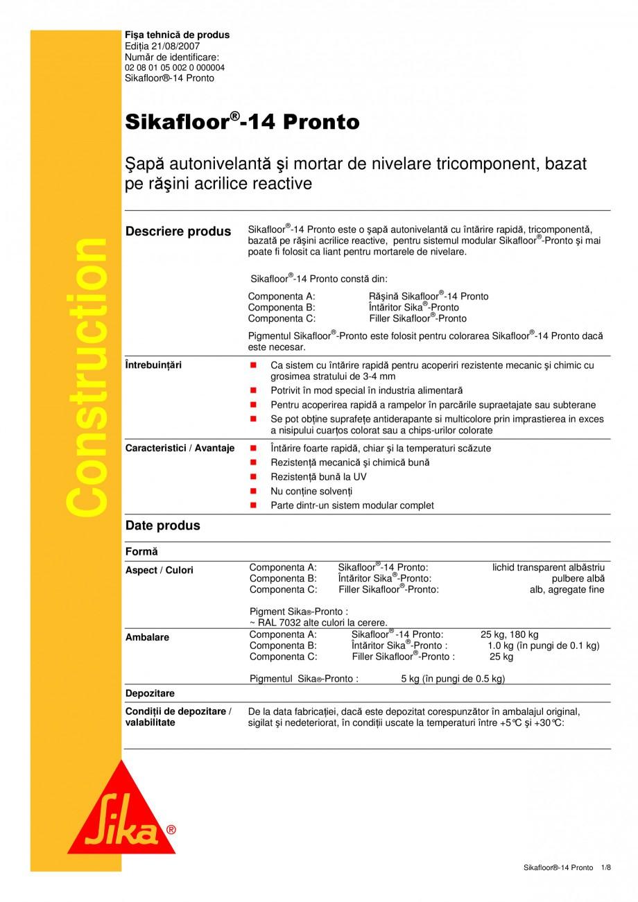 Pagina 1 - Sapa autonivelanta si mortar de nivelare tricomponent, bazat pe rasini acrilice reactive ...