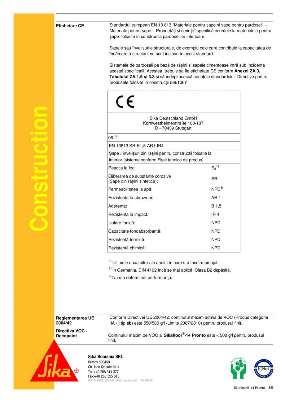 Pagina 8 - Sapa autonivelanta si mortar de nivelare tricomponent, bazat pe rasini acrilice reactive ...