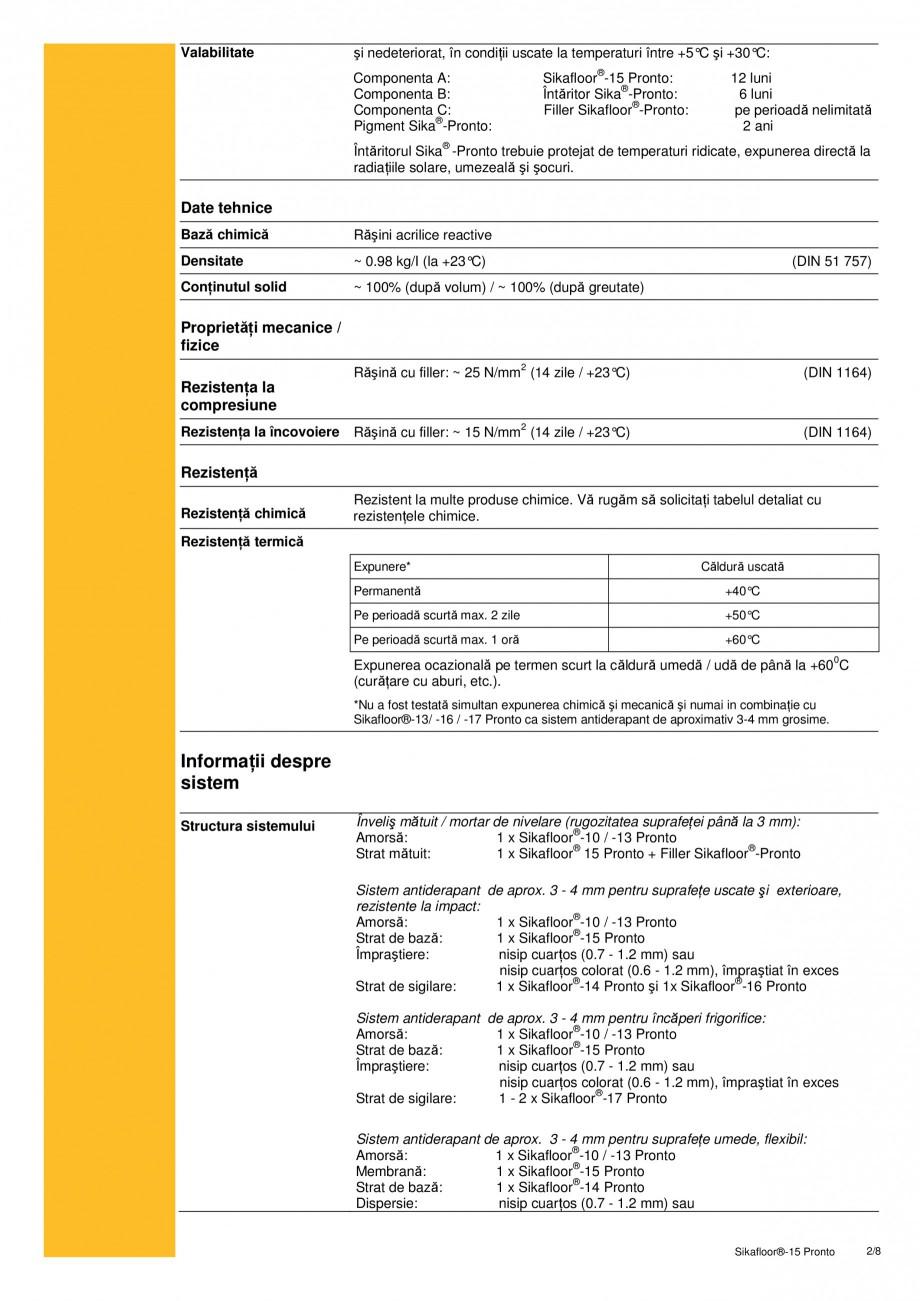 Pagina 2 - Sapa autonivelanta si mortar de nivelare, pe baza de rasini acrilice reactive SIKA...