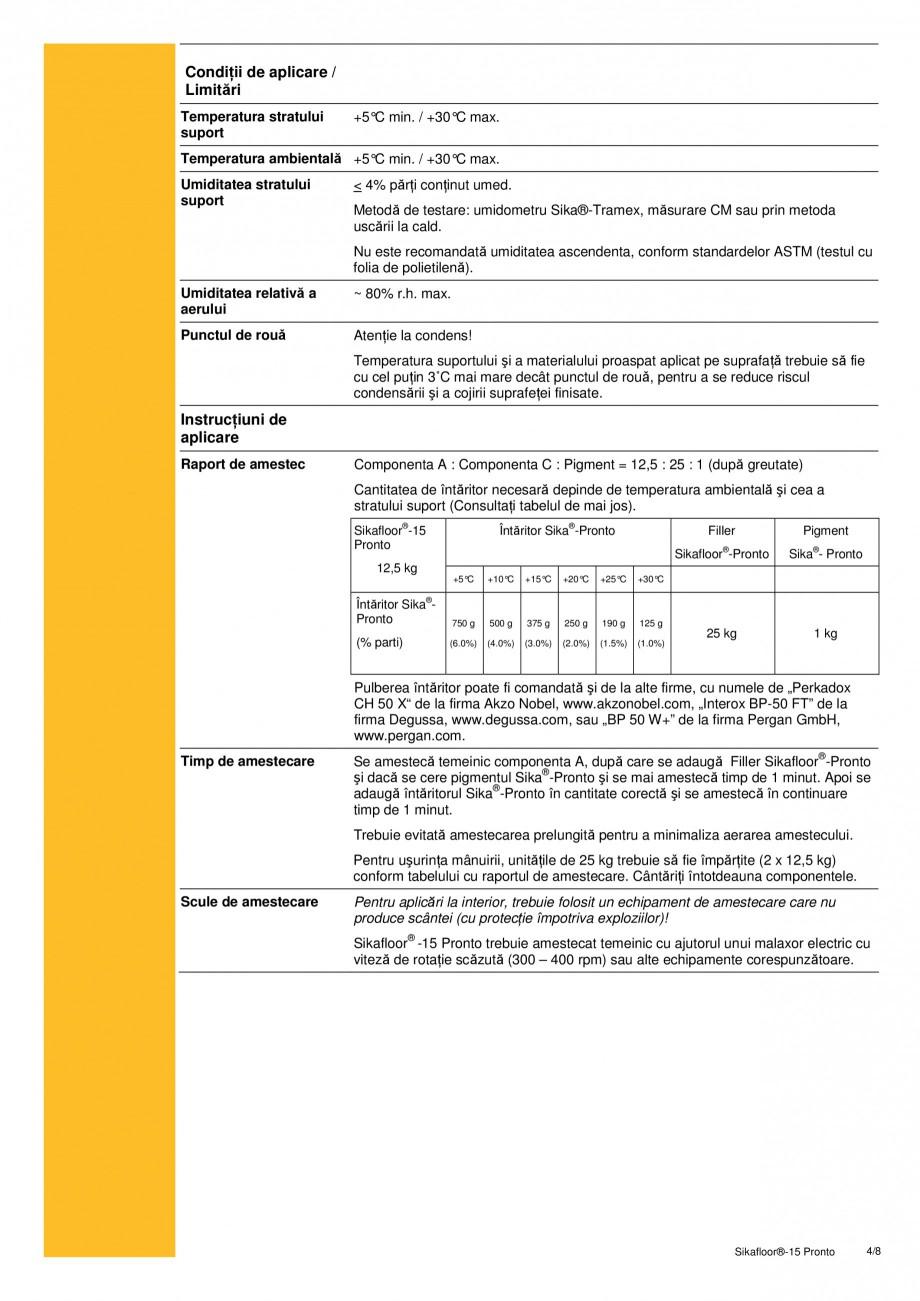 Pagina 4 - Sapa autonivelanta si mortar de nivelare, pe baza de rasini acrilice reactive SIKA...