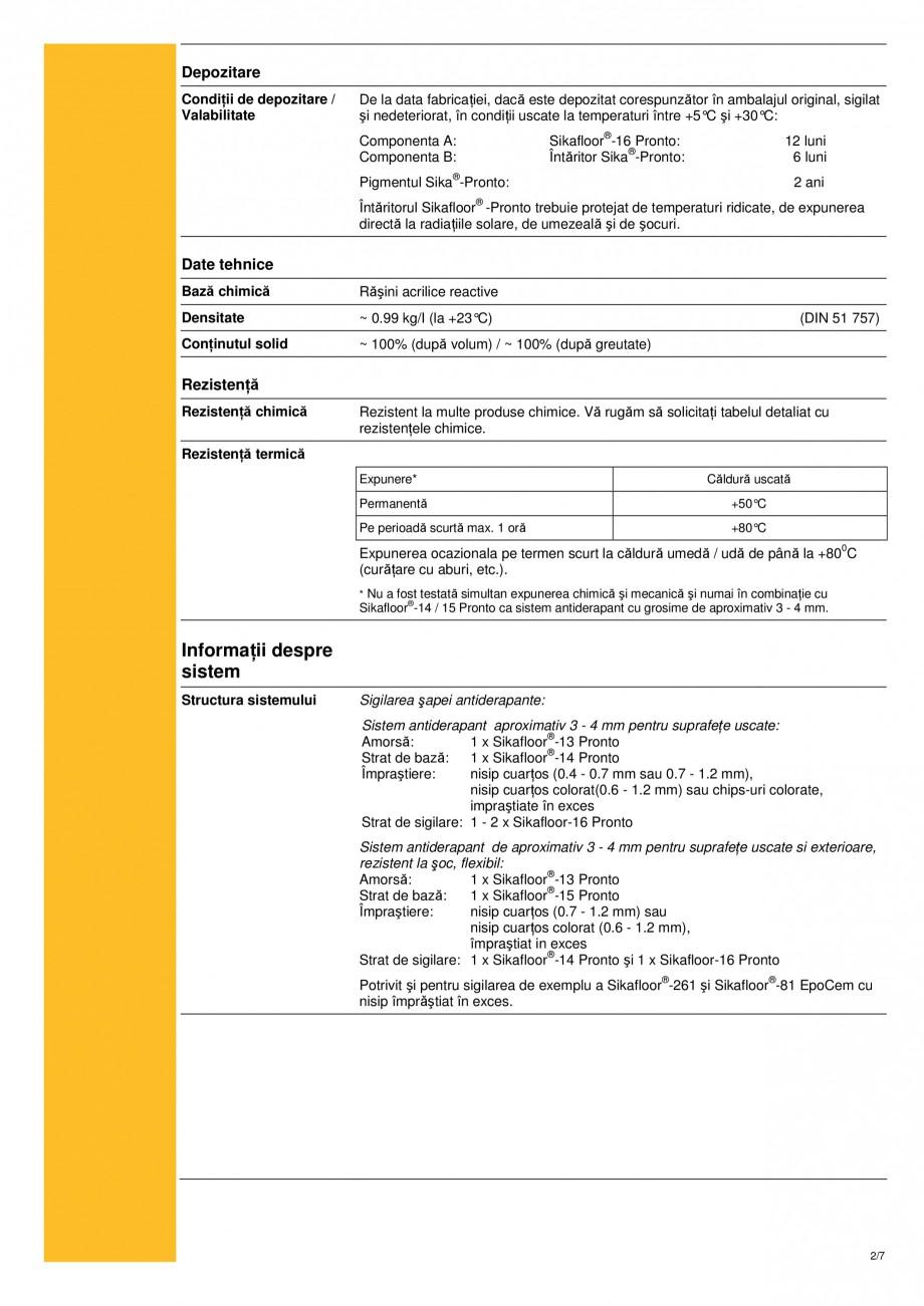 Pagina 2 - Strat de sigilare bicomponent, bazat pe rasini acrilice reactive sikafloor-16 pronto SIKA...